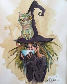 Coffee Witch and kitty series, Erela and Fruit loops Cat PRINTS! by Dustin Bailard. Dustin Bailard, Wallpaper Bonitos, Witch Drawing, Witch Art, Halloween Art, Whimsical Art, Cat Art, Art Inspo, Fantasy Art