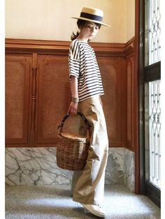 ari☆さんのハット「FREE'S MART 雑材カンカン帽」を使ったコーディネート