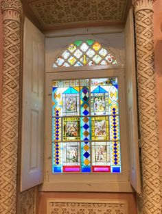 Window in Pena Palace, Sintra - this palace was built on a dilapidated monastery