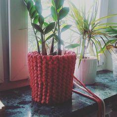 Wczoraj zaczęłam dłubać osłonke na doniczkę. Mam nadzieje, ze dzisiaj skończę. Niewiele już zostało 🌿🌱💜 #kwiaty #plants #crocheting #crochet
