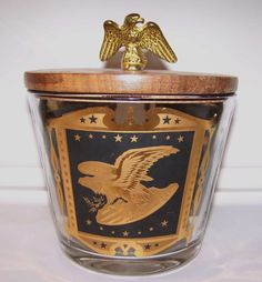 Mid Century Modern Ice Bucket Gold Embossed by AntiquesAtlanta
