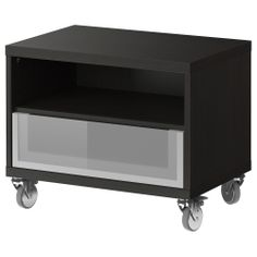 BESTÅ Bench with casters - black-brown - IKEA