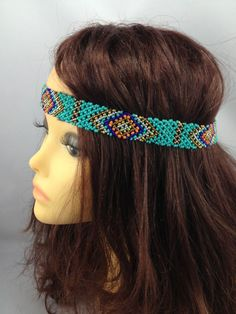 Teal Green Aztec Styled Beaded Headband