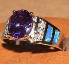 blue fire opal Amethyst & Cz ring Gemstone silver jewelry Size 8 elegant  N69