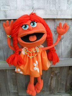 orange girly monster - pro puppet custom order mouth operating and with arm rods - Puppets in a bag