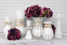 Custom Order for Natalie /// Shabby Chic Burlap, Lace, and Rhinestone Soft White Vases