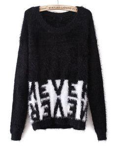 Navy Batwing Long Sleeve Mohair Sweater - Sheinside.com