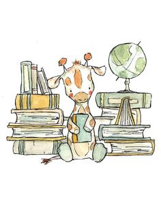 Childrens Art Bookish Giraffe Art Print by trafalgarssquare, $10.00