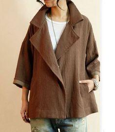 Big Collar Casual Linen Coat Blazer: