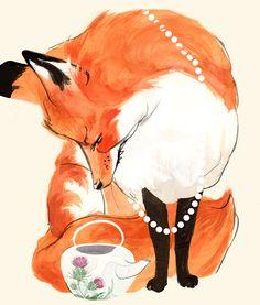 Fox & thistles! Fox art by Maddie Matthews ~ Velma's run out of tea