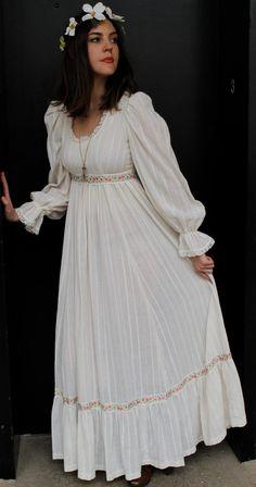 Vintage 70s Hippie Boho Wedding Dress S M Hippie by shopEBV