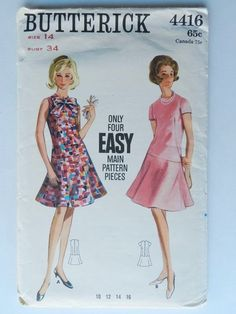 Dress Pattern Drop Waist Flared SKirt Sleeveless with Bow Easy to Sew Vintage Sewing Pattern Butterick 4416 Size 16 Bust 36 Cute Dresses, Summer Dresses, Thing 1, Drop Waist, Vintage Sewing Patterns, Flare Skirt, Size 16, How To Wear, 1960s