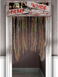 Zombie Doorway Curtain decoration warns visitors to beware of the Dead Inside. Scary zombie themed door curtain is perfect for your Halloween party. Halloween Club, Fete Halloween, Halloween Themes, Zombie Party Decorations, Scary Decorations, Hanging Decorations, Porte D'halloween, Doorway Curtain, Horror Party