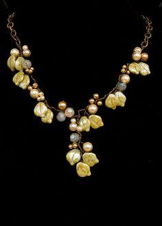 Green Art Nouveau Necklace, Fairy Necklace, Statement Necklace, Bridal Jewelry