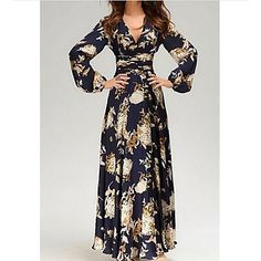 Women's+Going+out+Vintage+Loose+Swing+Dress,Floral+V+Neck+Maxi+Long+Sleeve+Senior+Emulation+Silk+Winter+High+Rise+Inelastic+Thin+–+USD+$+17.99