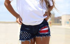 Levis High waisted Denim Shorts - Merica / patriotic shorts / american flag shorts / xxs xs s m l xl xxl / destroyed patriotic denim Distressed Denim Shorts, Ripped Denim, 4th Of July Outfits, Summer Outfits, Cute Outfits, Denim Outfits, Shorts Levis, Ripped Shorts, Jean Shorts