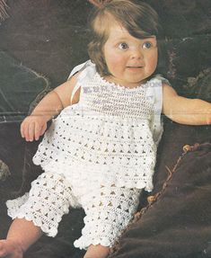 Baby crochet top and trousers vintage crochet pattern pdf