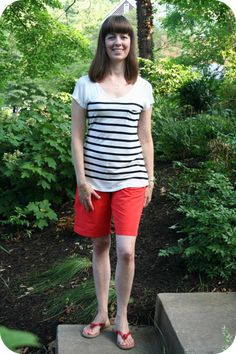 Working mom outfit idea: Weekend casual in red shorts, striped T-shirt. Inspired by @Polyvore. [http://www.franticbutfabulous.com/2013/08/07/working-mom-outfit-of-the-week-weekend-casual-inspiration-recreation/?utm_medium=social_media_campaign=FBFsocial]