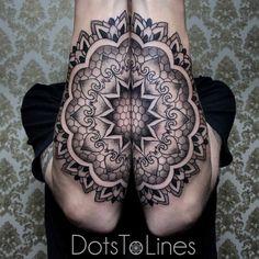 Mandala, black & grey geometric dotwork tattoo
