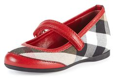 Burberry Check/Leather Ballerina Flat, Parade Red, Infant - on #sale 25% off @ #NeimanMarcus  #Burberry  Learn more about coolonsale and wantlets at :  http://blog.coolonsale.com/post/91945886274/what-is-a-wantlet