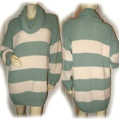USA MADE Womans Mint GREEN Cream White STRIPE Crochet Long Sleeve Sweater TOP $69.98  http://stores.ebay.com/Tropical-FEEL