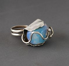 "Sterling Ring with ""sea opal"" 