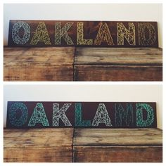 Beautiful day here in #Oakland and #JackLondonSquare! Show your Town love with these Oakland themed string art pieces by @NineRed. Available in the two color palettes featured. $140 each. #oaksupplyco #madeinamerica #california #stringart #oakland