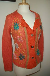 Women's Vintage Cardigan Sweater Needle Work Embroidery Floral Yarn Small Mohair | eBay $69.50