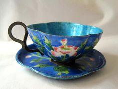 Antique Enamel Tea Cup -