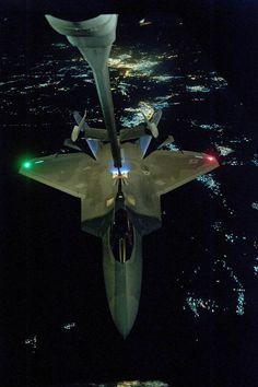 Give 'em hell! Image: U.S Air Force KC-10 Extender refuels an F-22 Raptor fighter aircraft