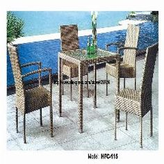 [ $100 OFF ] Outdoor Rectangle Glass Rattan Table 4 Chairs Garden Set Amrest And Nonarmrest Chairs Leisure Furniture Balcony Gardern Set
