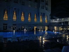 Night view of the pool - Bar do Copa at the back