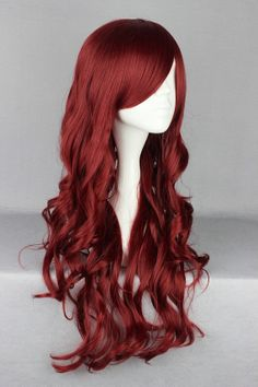 Wine Red Wavy Long Wig by FairyTailWings on Etsy, $40.00