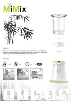 The MiMix is a portable blender inspired by the bamboo form. Design Portfolio Layout, Industrial Design Portfolio, Poster Design Layout, Graphic Design Brochure, Industrial Design Sketch, Presentation Board Design, Portable Blender, Catalog Design, Technology Design