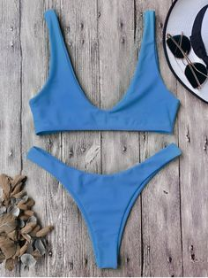 $12.99 High Cut Scoop Bikini Set BLUE: Bikinis | ZAFUL