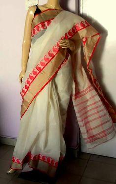 White Tangail cotton saree with red mango muga silk border Kasavu Saree, Sarees, White Saree, Saree Styles, Cotton Saree, Saree Blouse, Cream Colour, Color, Desi