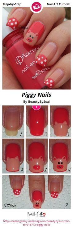 Piggy Nails by BeautyBySuzi - Nail Art Gallery Step-by-Step Tutorials nailartgallery.nailsmag.com by Nails Magazine www.nailsmag.com #nailart