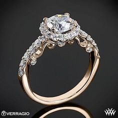20k rose gold verragio ins 7003 half eternity halo diamond engagement ring - Gold And Silver Wedding Rings