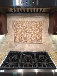 Nice Basketweave Stone Backsplash Insert By Cdc In Carlsbad Countertop Ideas