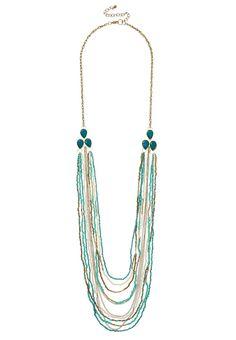 blue grass seedbead drape necklace