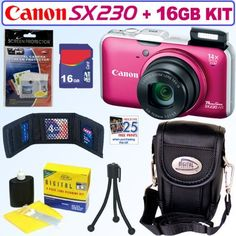 Canon PowerShot SX230HS 12 MP Digital Camera (Red-Pink) + 16GB Accessory Kit by Canon. $384.95. Travel the world with the new PowerShot SX230 HS digital camera. It's the first Canon PowerShot to come with GPS technology that'll automatically tag your photos with time and locations. You can even view all the photos' locations on a map by using special bundled software. And with amazing features, such as the HS SYSTEM, 12.1 Megapixels, 14x Wide-Angle Optical Zoom and 1080p...