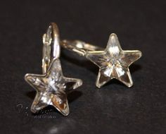 Earrings, STAR, silver, Crystal, star earrings, star jewelry, children's, jewelry, for children, gift, for girl, for the best friend Hanging Stars, Star Jewelry, Star Earrings, A Table, Wedding Jewelry, Swarovski Crystals, Amethyst, Sterling Silver, Gold