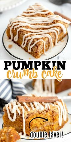 "Pumpkin Crumb Cake - All the classic taste of pumpkin cake topped with cinnamon crumb and a sweet cream cheese glaze. Nothing says ""fall"" like a slice of this pumpkin coffee cake. Crumb Coffee Cakes, Pumpkin Coffee Cakes, Pumpkin Dessert, Pie Dessert, Thanksgiving Desserts, Holiday Desserts, Just Desserts, Delicious Desserts, Apple Desserts"