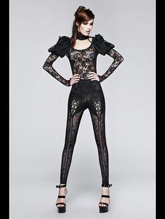Punk Spliced Rose Jacquard Leggings Sexy Slim Gothic Black Legging Hollowed-out Elastic Leggings Gothic Pants, Gothic Leggings, Lace Leggings, Gothic Dress, Gothic Outfits, Gothic Shop, Gothic Mode, Victorian Lace, Victorian Fashion