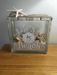 Life's a beach glass block