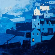 Blue Harbour - George Birrell, mixed media, 50 x 50 cm, £2450. #11385