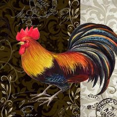 """(no words - """"Medium"""") Rooster Painting, Rooster Art, Rooster Decor, Chicken Painting, Chicken Art, Chicken And Cow, Chicken Pictures, Chicken Coop Designs, Farm Art"""
