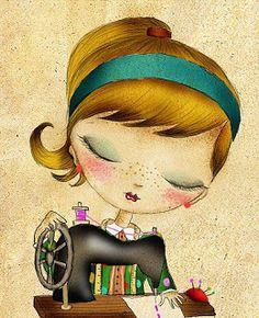 Ideas Sewing Machine Illustration Girls For 2019 Art And Illustration, Illustrations, Sewing Art, Love Sewing, Art Mignon, Jolie Photo, Art Graphique, Vintage Sewing, Cute Art