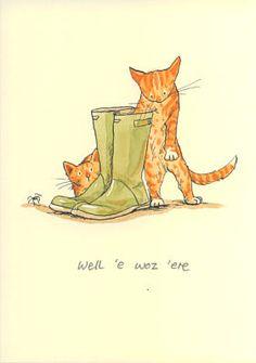 Two Bad Mice Greeting Card - Well e Woz ere by Anita Jeram Anita Jeram, Children's Book Illustration, Cat Art, Cute Drawings, Zentangle, Illustrators, Cartoons, Artwork, Fairies