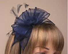Navy Blue Hat Fascinator. Flower Feather by magicalmillinery